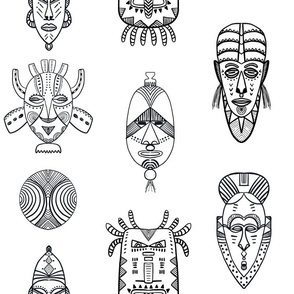 african masks black and white