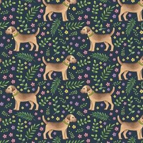 Border Terriers Spring Floral on dark navy grey - medium scale
