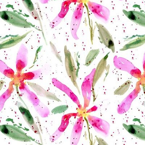 Bloom in Positano - watercolor loose florals with splatters for modern home decor a321-1