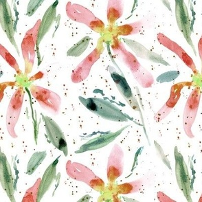 Bloom in Positano - watercolor loose florals with splatters for modern home decor a321-2