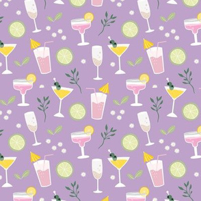 Drinks and cocktails happy birthday party celebrations happy hour glasses lilac purple