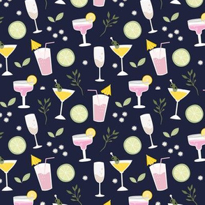 Drinks and cocktails happy birthday party celebrations happy hour glasses navy blue mint yellow pink