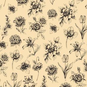 Botanic Ink Flowers - Yellow