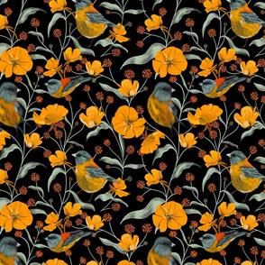 Yellow Birds & Flowers