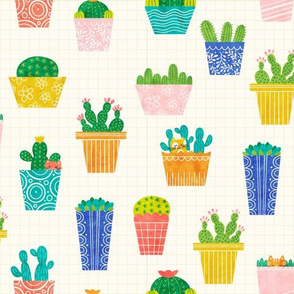 Potted Plants and Kittens - Cream