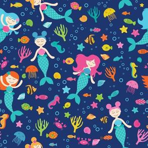 Mermaids Under The Sea Blue