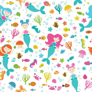 Mermaids Under The Sea White
