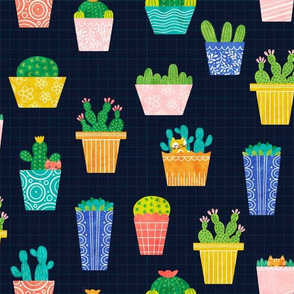 Potted Plants and Kittens - Navy
