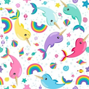 Rainbow Narwhals Swimming White