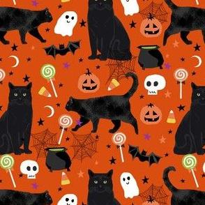 black cat halloween fabric - halloween cat lady design -  orange