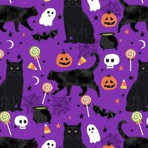 black cat halloween fabric - halloween cat lady design -  purple