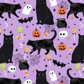 black cat halloween  fabric - halloween cat lady design - lavender