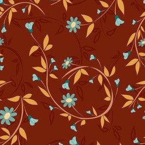 Swirling Floral Vines in Teal, Sea Glass and Chili Powder Paducaru