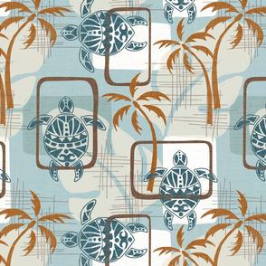 Mid Century Modern Hawaii - Blue - Turtles, Palm Trees