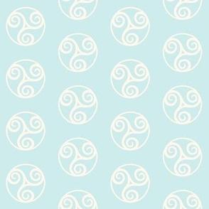 Celtic Wind Symbol in Pastel Blue & Ivory