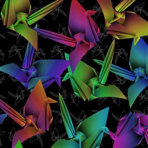 Paper Cranes (White Outline)