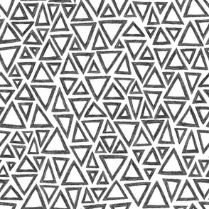 crayon triangles in black and white