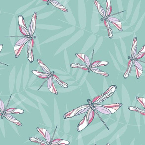Dragonflies bamboo grove teal by Jac Slade