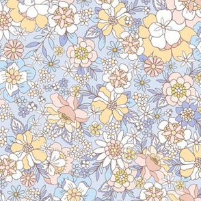 Candyfloss floral blue apricot by Jac Slade
