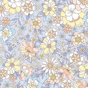 Candyfloss floral cornflower blue by Jac Slade