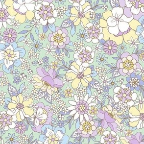 Candyfloss floral lilac sage by Jac Slade