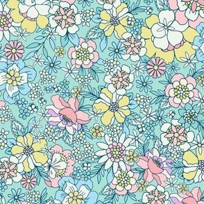 Candyfloss floral Mint by Jac Slade