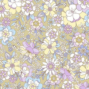 Candyfloss floral olive by Jac Slade