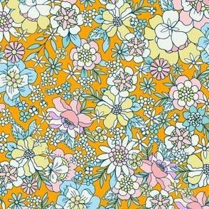 Candyfloss floral sunshine orange by Jac Slade