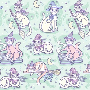 Pastel Witchy Cats in Mint {large}