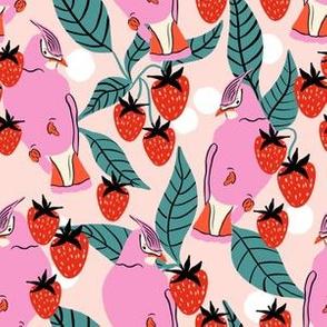 strawberries and birds on cream