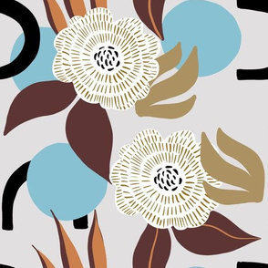 organic shapes with flowers