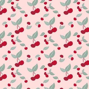 Cherry pattern on Pale Pink