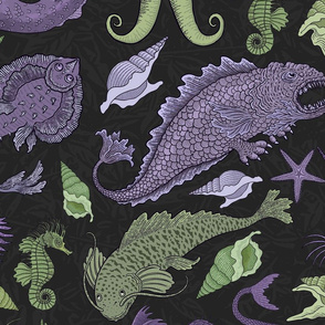Large Deep Sea Cryptids in Purple