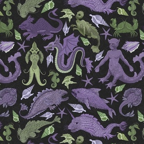 Small Deep Sea Cryptids in Purple