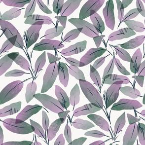 jumbo-purple sage leaves watercolor