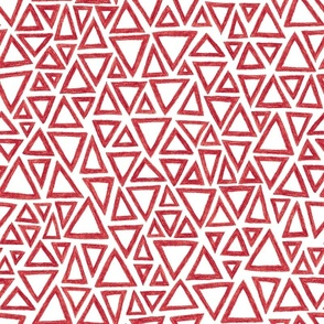 crayon triangles in cranberry red on white