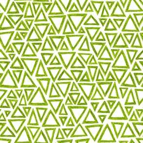 crayon triangles in leaf green on white