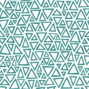 crayon triangles in teal on white