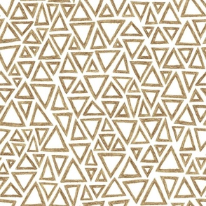 crayon triangles - brown on white