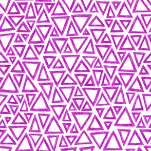 crayon triangles in bright plum on white