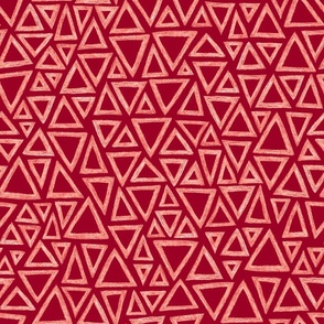 batik triangles - white on cranberry red