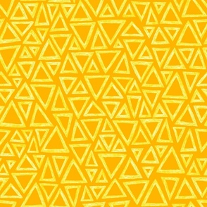 batik triangles - yellow and white on saffron