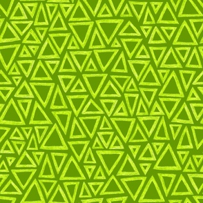 batik triangles - chartreuse on lime green