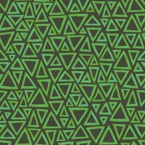 batik triangles - light blue, green and khaki