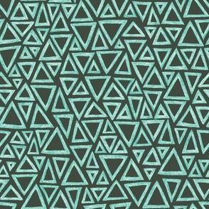 batik triangles - teal, aqua and white  on olive
