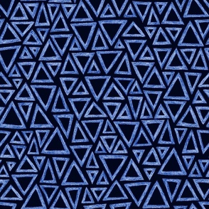 batik triangles - royal blue on navy