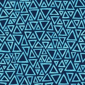 batik triangles - bright blue