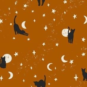 Black Cats Halloween Fabric on Dark Burnt Orange