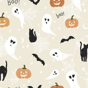 Halloween Fabric Cute Ghosts and Pumpkins Spooky Boo