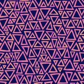 batik triangles - yellow, pink, purple and deep navy blue